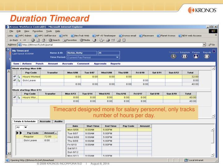 Duration Timecard