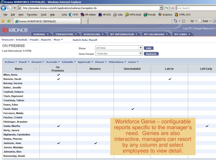 Workforce Genie – configurable reports specific to the manager's need.  Genies are also interactive, managers can resort by any column and select employees to view detail.
