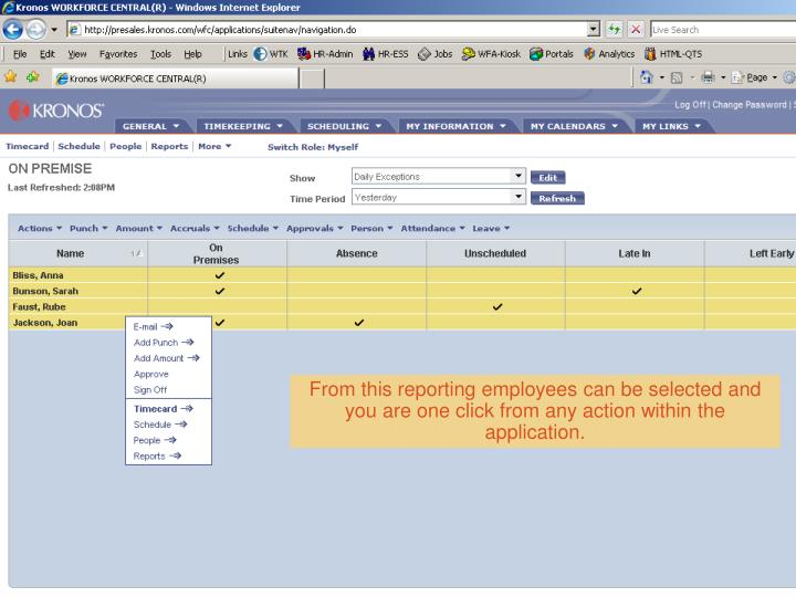 From this reporting employees can be selected and you are one click from any action within the application.