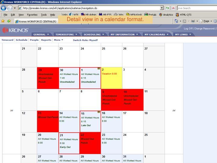 Detail view in a calendar format.