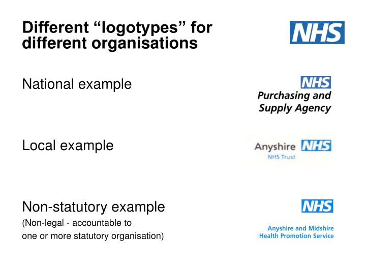 "Different ""logotypes"" for different organisations"