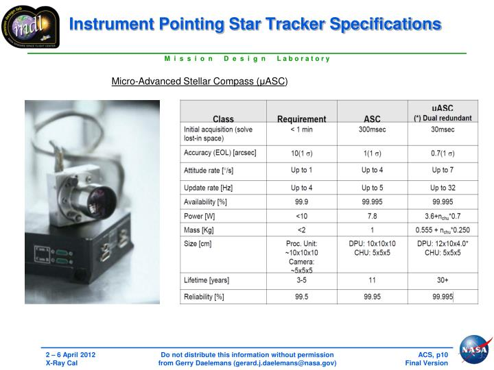 Instrument Pointing Star Tracker Specifications