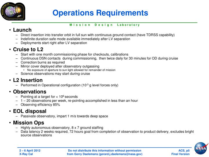 Operations Requirements