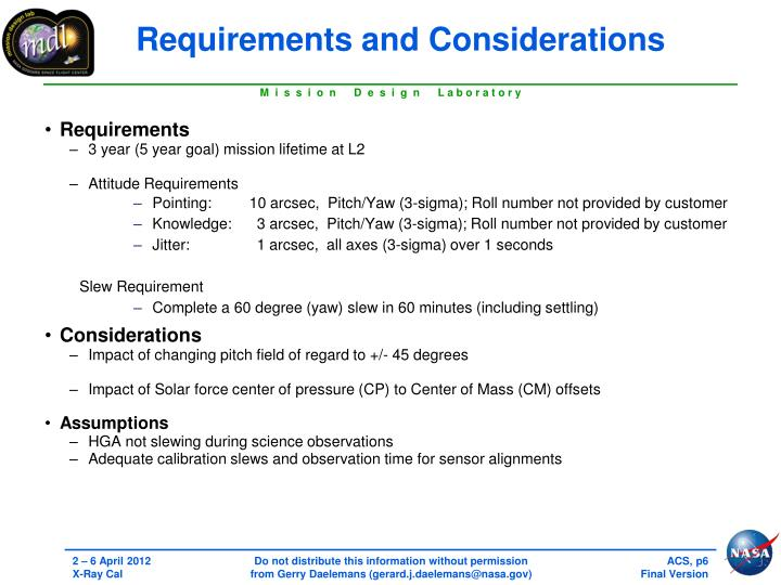 Requirements and Considerations