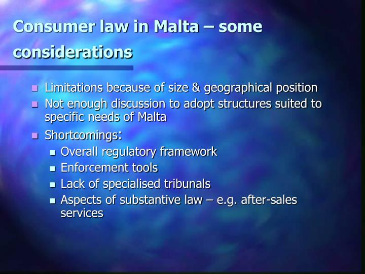 Consumer law in malta some considerations