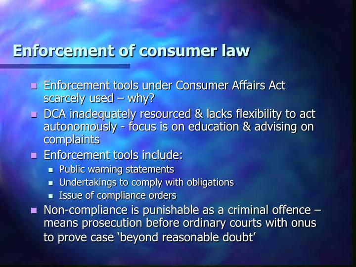 Enforcement of consumer law