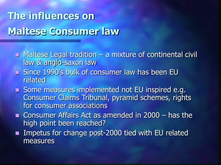The influences on maltese consumer law