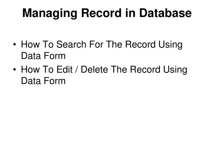 Managing Record in Database