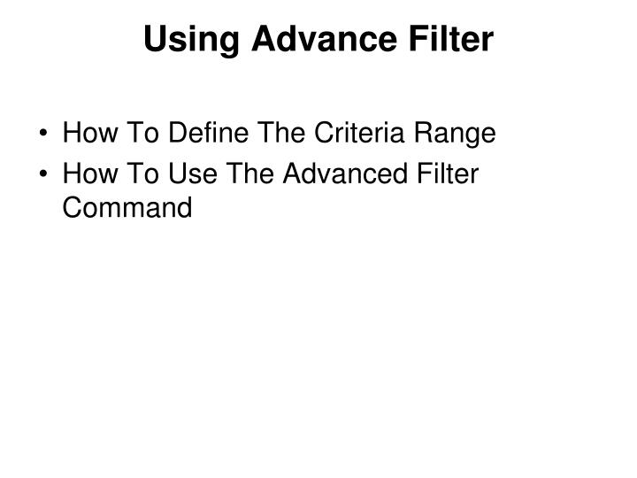 Using Advance Filter
