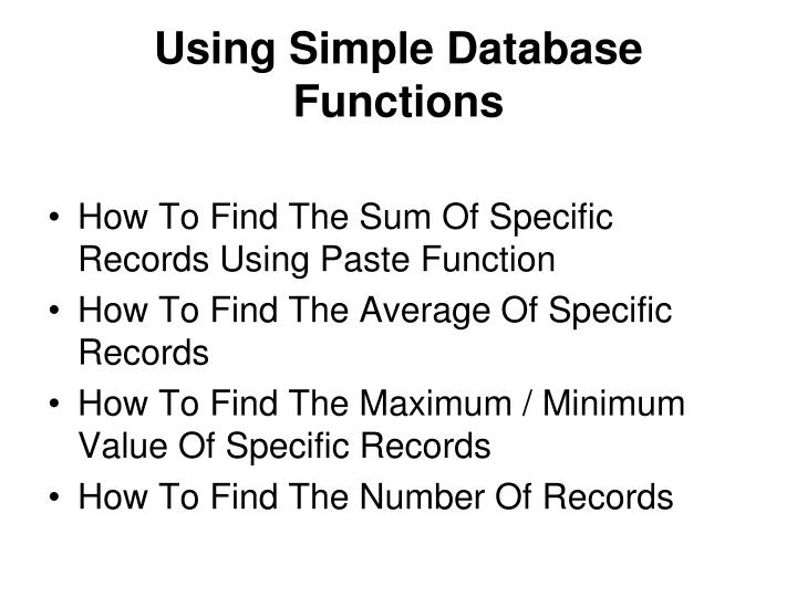 Using Simple Database Functions
