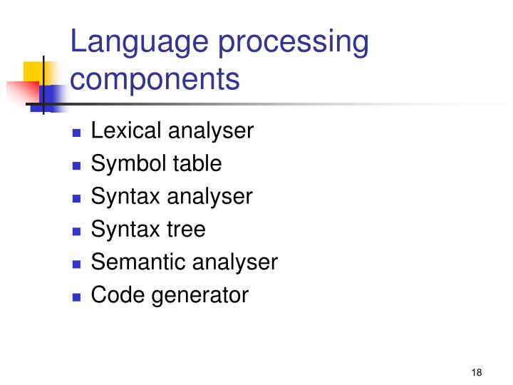 Language processing components