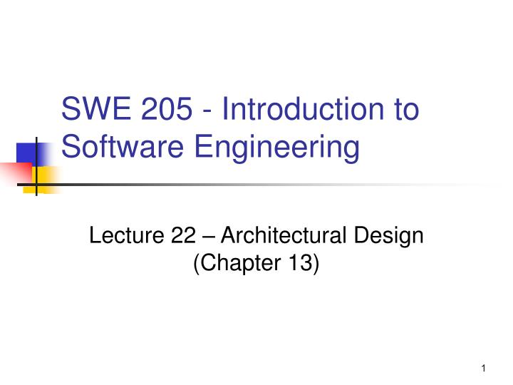 Swe 205 introduction to software engineering