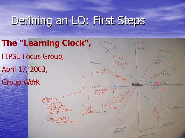 Defining an LO: First Steps