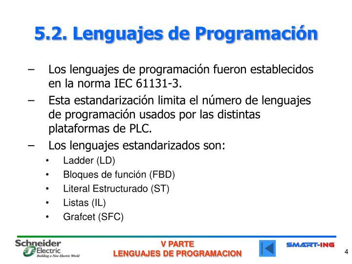 5.2. Lenguajes de Programación