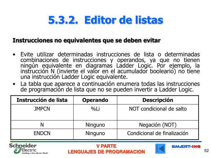 5.3.2.  Editor de listas