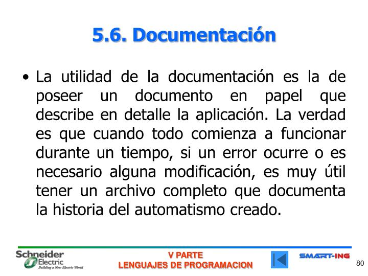 5.6. Documentación