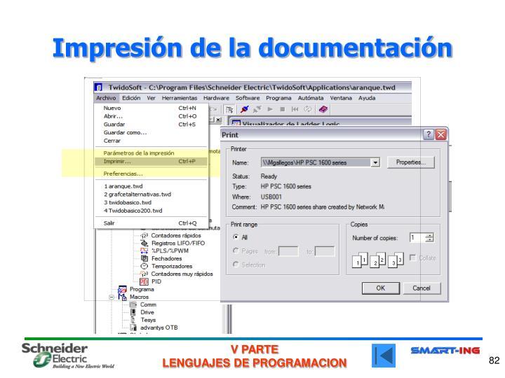 Impresión de la documentación