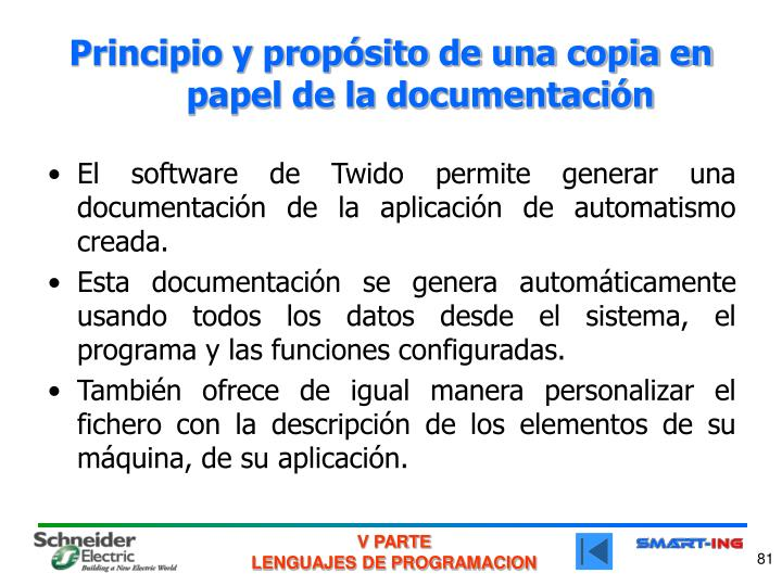 Principio y propósito de una copia en papel de la documentación