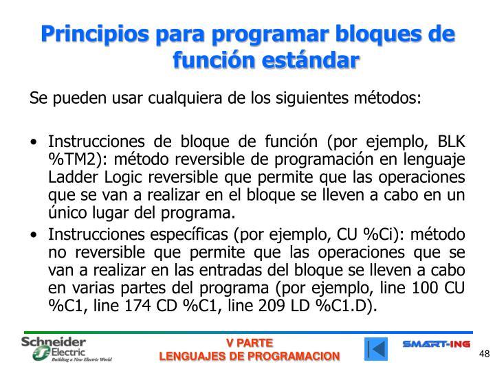 Principios para programar bloques de función estándar