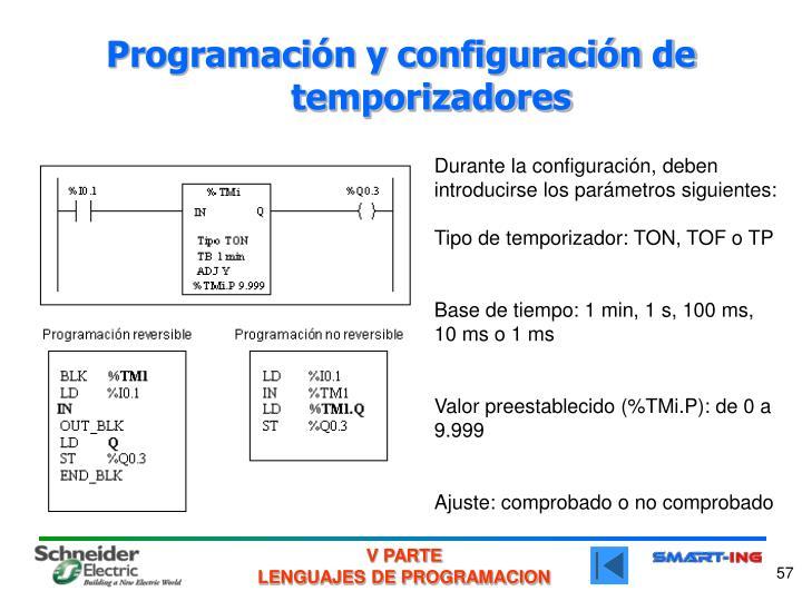 Programación y configuración de temporizadores