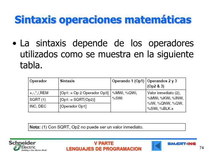 Sintaxis operaciones matemáticas