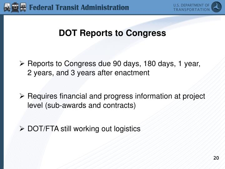 DOT Reports to Congress