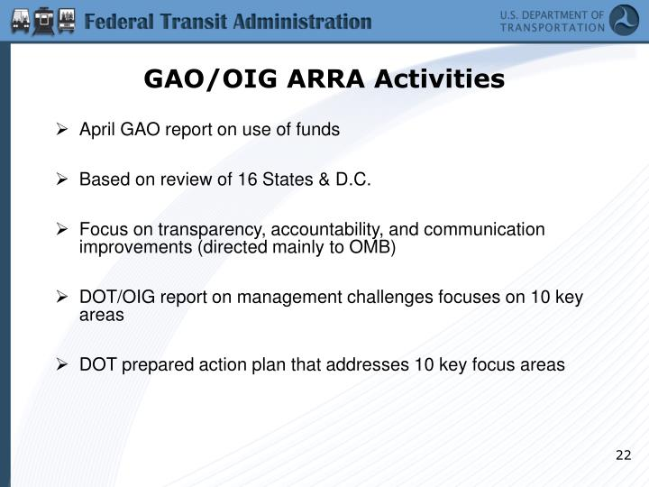 GAO/OIG ARRA Activities