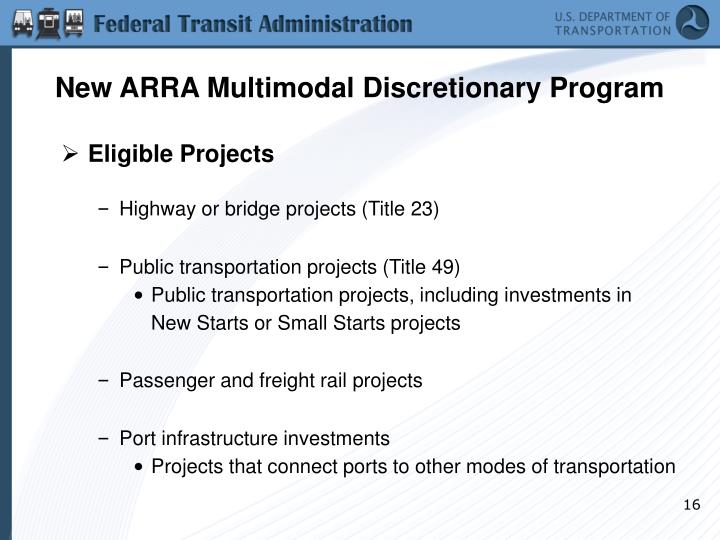 New ARRA Multimodal Discretionary Program