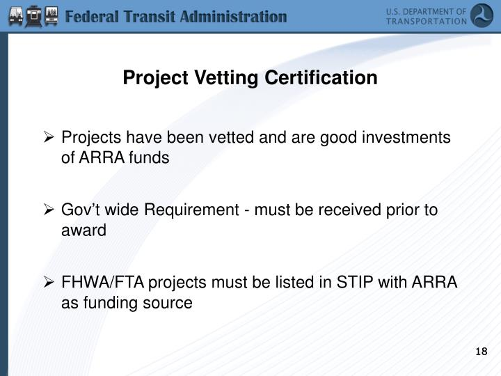 Project Vetting Certification