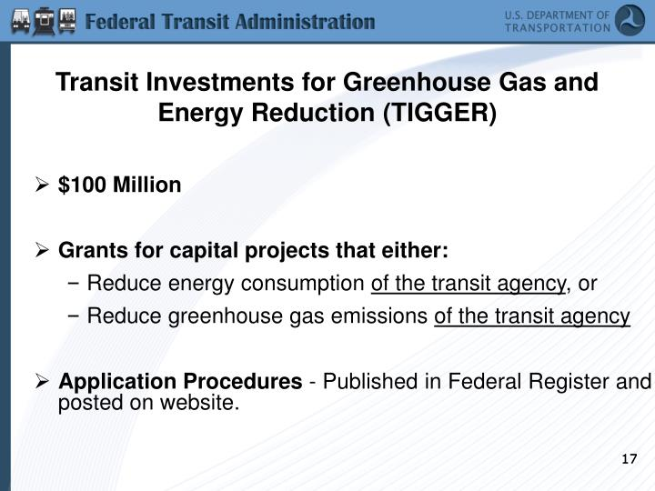 Transit Investments for Greenhouse Gas and Energy Reduction (TIGGER)