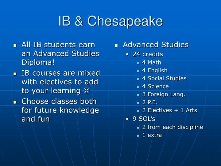 All IB students earn an Advanced Studies Diploma!