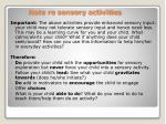 note re sensory activities