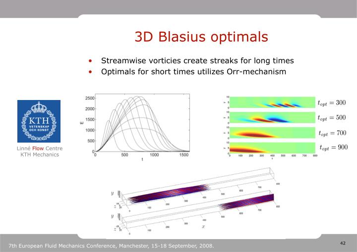 3D Blasius optimals