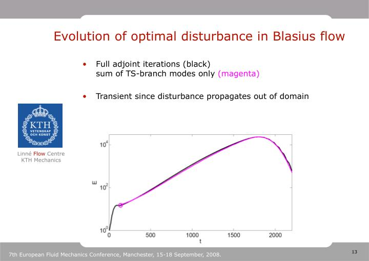Evolution of optimal disturbance in Blasius flow