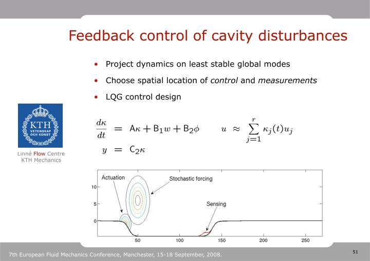 Feedback control of cavity disturbances