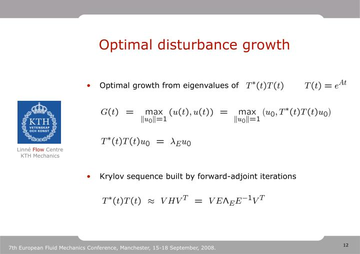 Optimal disturbance growth