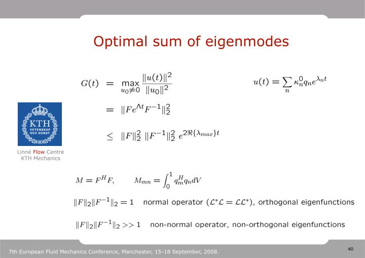 Optimal sum of eigenmodes
