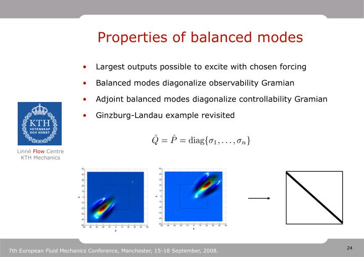 Properties of balanced modes