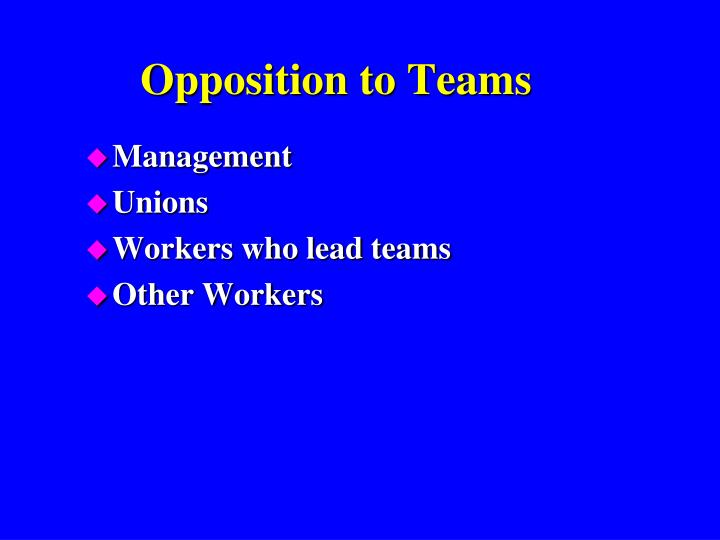 Opposition to Teams