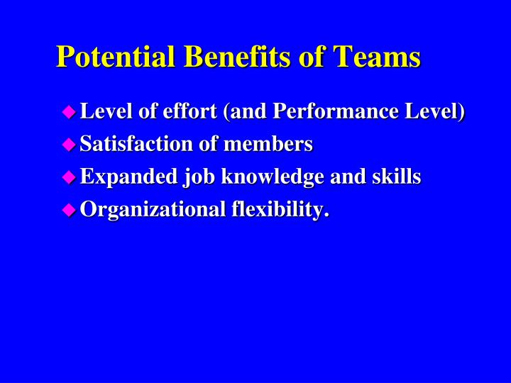 Potential Benefits of Teams