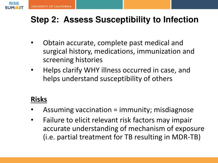 Step 2:  Assess Susceptibility to Infection
