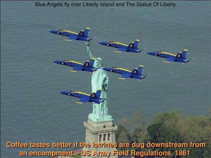 Blue Angels fly over Liberty Island and The Statue Of Liberty