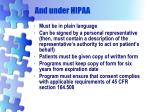 and under hipaa
