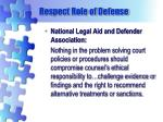 respect role of defense