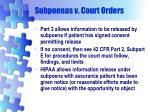 subpoenas v court orders