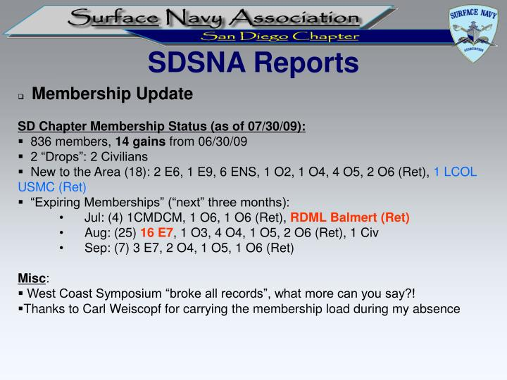 SDSNA Reports
