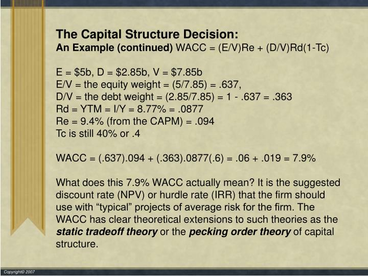 The Capital Structure Decision:
