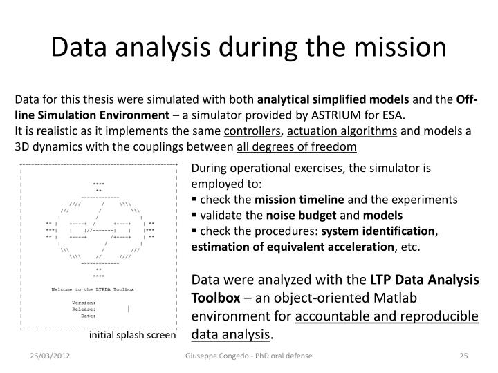 Data analysis during the mission