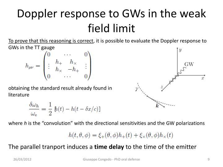Doppler response to GWs in the weak field limit