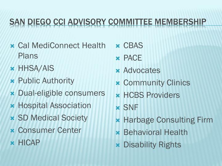 San Diego cci advisory